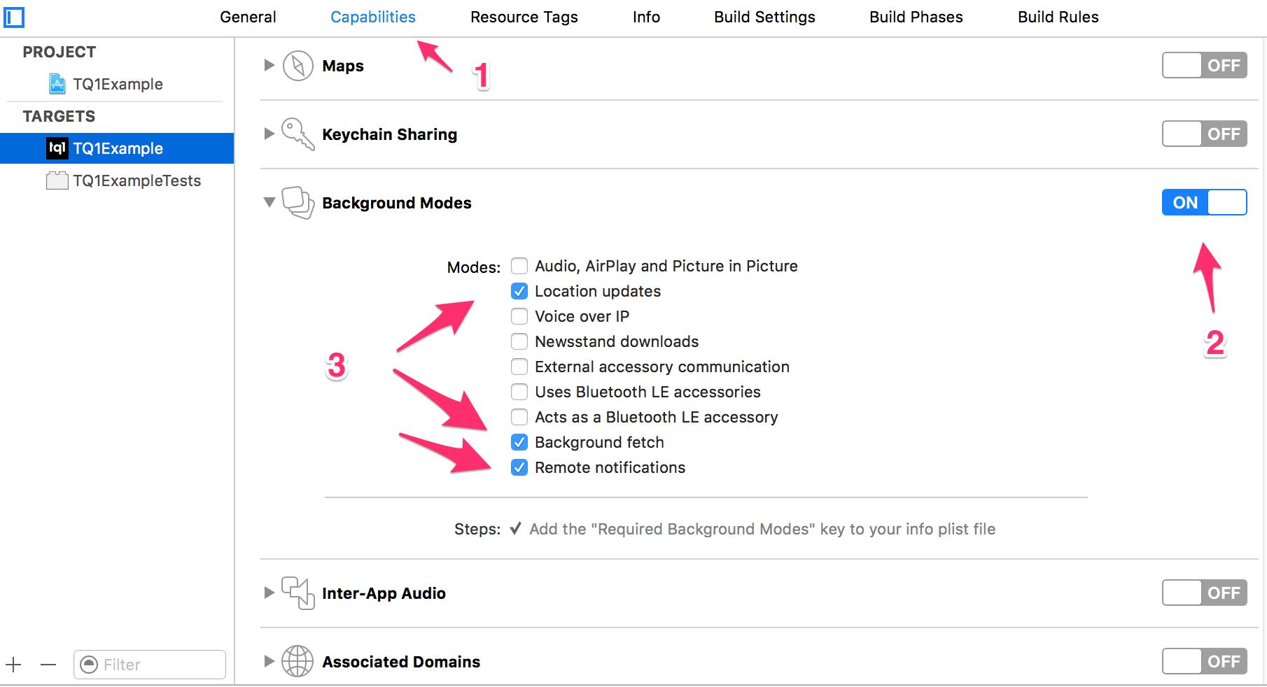 1 setup - TQ1- iOS SDK